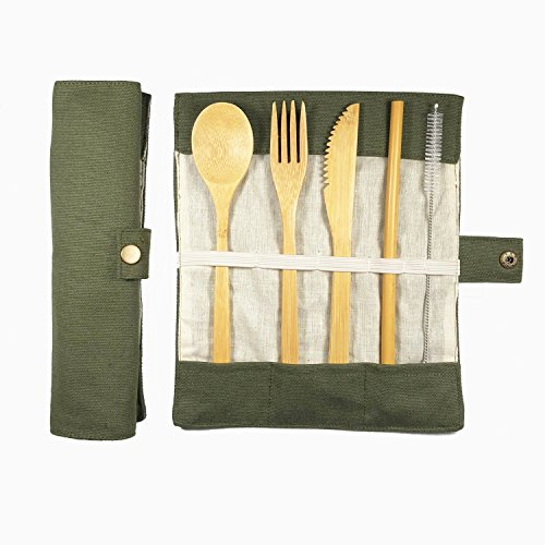 Muhuyi Bamboo Travel Cutlery Eco Friendly Flatware Set, Bamboo Travel Utensils Include Knife, Fork, Spoon, Straw and Cleaning Brush (Army Green)