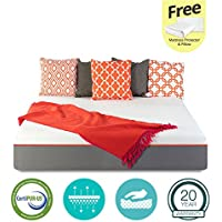10 inch GEL Memory Foam Mattress - Certipur-US Certified - Medium Soft - 20-Year Warranty - Full - with FREE Protector and Pillow