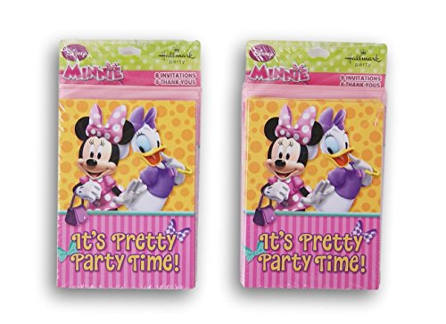 Minnie Mouse Party Cards - 16 Invitations and 16 Thank You (Minnie Themed Party)