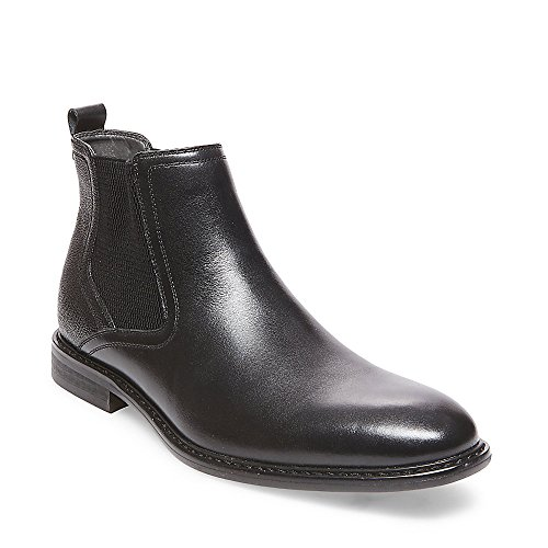 Steve Madden Men's Aziz Chelsea Boot, Black Leather, 10 Size Conversion M US