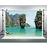 Ocean Island Decor,Photography Backdrop for Wedding and Party,6.5x6.5ft,James Bond Stone Island Landscape in Tropical Beach Cruising Journey of Life Photo