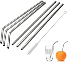 MIXIAO Stainless Steel Straws, Reusable Metal Drinking Straws with Cleaning Brushes for 30 20 Oz Yeti RTIC Tumbler Rambler Cups