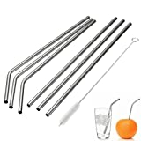 MIXIAO Stainless Steel Drinking Straws , Reusable Metal Drinking Straws with Cleaning Brushes