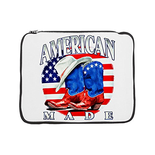 15 Inch Laptop Sleeve US American Flag Country Cowboy Boots