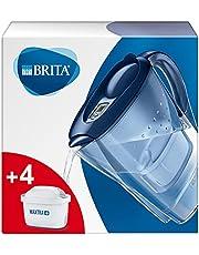 BRITA waterfilterkan Marella verbetert de smaak en vermindert kalk en andere onzuiverheden uit kraanwater, blauw, 2,4L - incl. 4 MAXTRA+ waterfilterpatronen