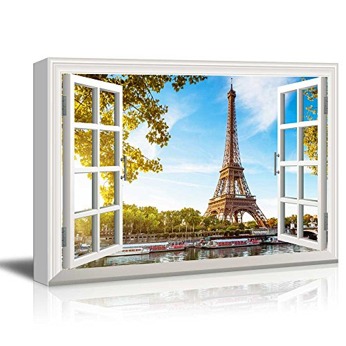 Tower Canvas Art (Canvas Print Wall Art - Window Frame Style Wall Decor - Eiffel Tower and Beautiful Lake under Clear Blue Sky | Giclee Print Gallery Wrap Modern Home Decor. Stretched & Ready to Hang - 24
