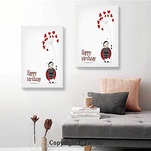 SfeatruRWF Canvas Wall Art Decor,Ladybug Wings Flower Inspired Heart Shaped Balloons,24