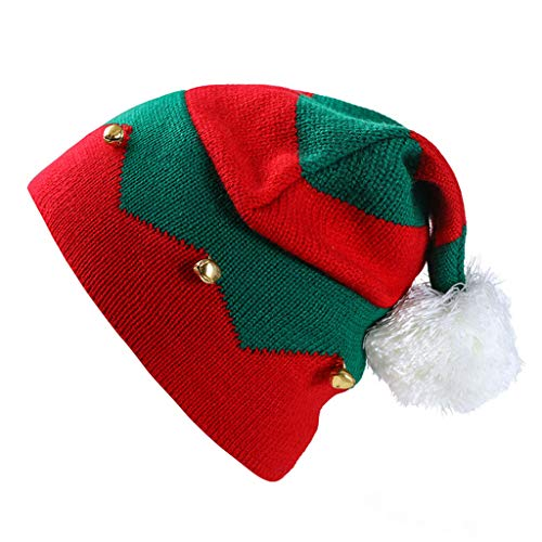 Kid Christmas Beanie Knit Hat,Crytech Soft Slouchy Winter Pom Pom Knitted Striped Santa Snow Skull Ski Cap with Bell and Scarf Set 2 Pcs for 1-6 Year Baby Infant Toddler Party Accessory (Red)