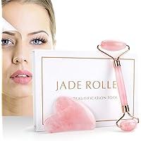 Jade Roller & Gua Sha Set, JR INTL Rose Quartz Face Roller and Gua Sha Scrapping, 100% Real Natural Nephrite Jade Roller…