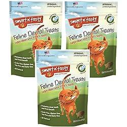 (Pack of 3) Smart n' Tasty Grain-Free Catnip All Natural Feline Dental Treats 3 Ounces each