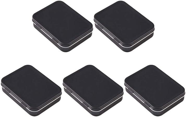 Healifty Caja de Lata Rectangular de Metal de 5 Piezas Pequeña Caja de Almacenamiento de Latas Superiores con Bisagras Vacías Caja de Almacenamiento de Contenedores Portátiles (Negro): Amazon.es: Hogar