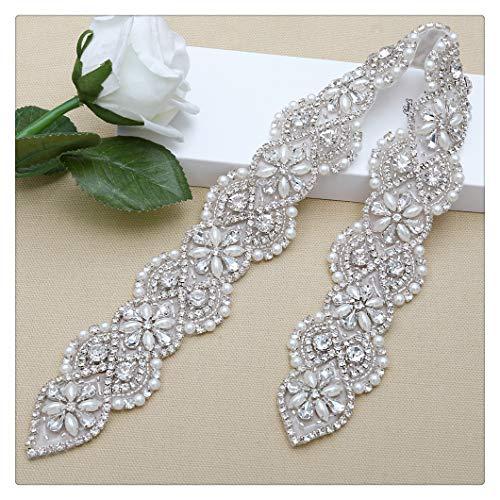 Rhinestone Applique Sparkly Silver Bridal Applique Wedding Dress Applique Pearl Beaded Applique