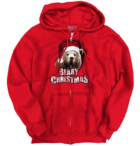 Beary Christmas Trendy Cool Fashion Funny Bear Christmas Zipper Hoodie (Beary Christmas)