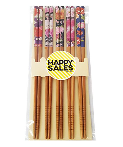 Happy Sales 5 Pairs Chopsticks Flower & Leaves Design Natural #7193