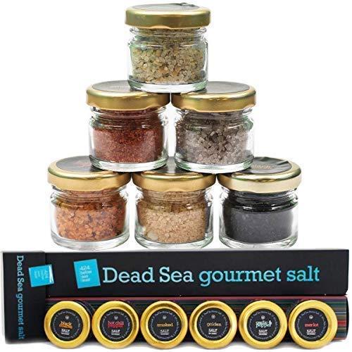 Gourmet Sea Salt Sampler 6-Pack - Organic Dead Sea Seasoning Salts Variety Box - Natural Kosher Cooking Black Coarse, Hot Chili, Garlic, Pepper, Golden, Smoked and Diamond Crystal Flavors Set, 0.88oz