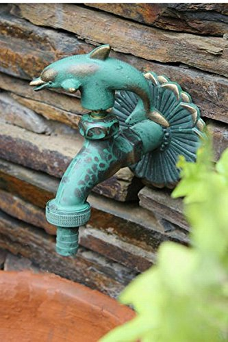 Aquafaucet Dolphin Decorative Solid Brass Garden Outdoor Faucet - With a Set of Brass Quick Connecter for 1/2'' Inches Hose