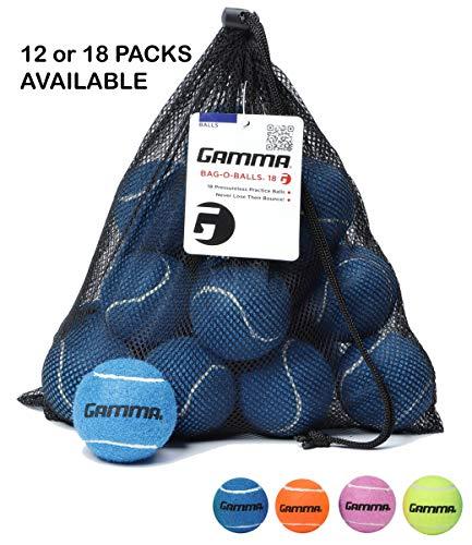 Gamma Bag of Pressureless Tennis Balls - Sturdy & Reuseable Mesh Bag with Drawstring for Easy Transport - Bag-O-Balls (18-Pack of Balls, Blue)