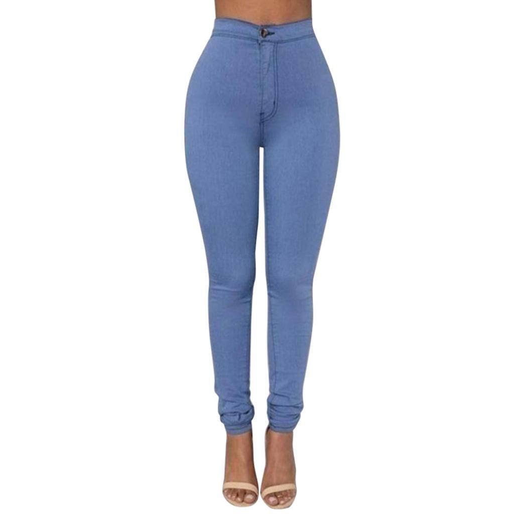 Mounter donna denim jeans nuovo modo multi colori ragazza casual jeans pantaloni a vita alta super skinny elasticizzato jeggings Butt sollevamento, Blue, small