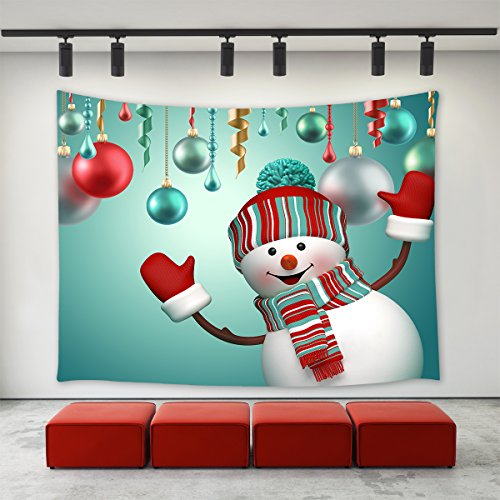 LBKT Christmas Day Tapestry Wall hanging Happy New Year Custom Xmas Christmas Ornaments 3D Snowman Say Hello Pattern Tapestries Wall Decor Art Home Decoration for Bedroom Living Room Dorm Decor