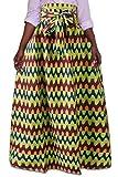 WSPLYSPJY Women's African Dashiki Print Bowknot Swing Maxi Skirts 1 M