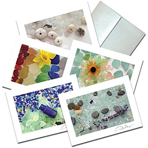 Elegant Sea Glass Fine Art Note Cards. 3.5x5 Set of 10 Blank Folded Cards Matching Envelopes. Unique Birthday Sales