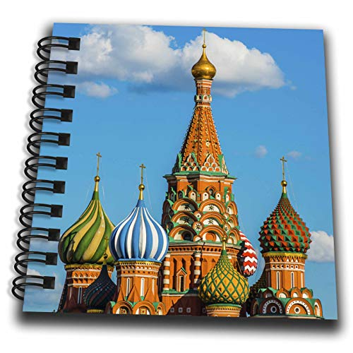 3dRose Alexis Photography - Moscow Kremlin - St. Basils Cathedral in The Light of The Setting Sun. Blue Sky - Mini Notepad 4 x 4 inch (Flat Cathedral Setting)
