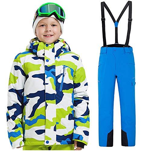 Sensfun Boy's Girl's Winter Colorblock Ski Jacket 2-Piece Snowsuit