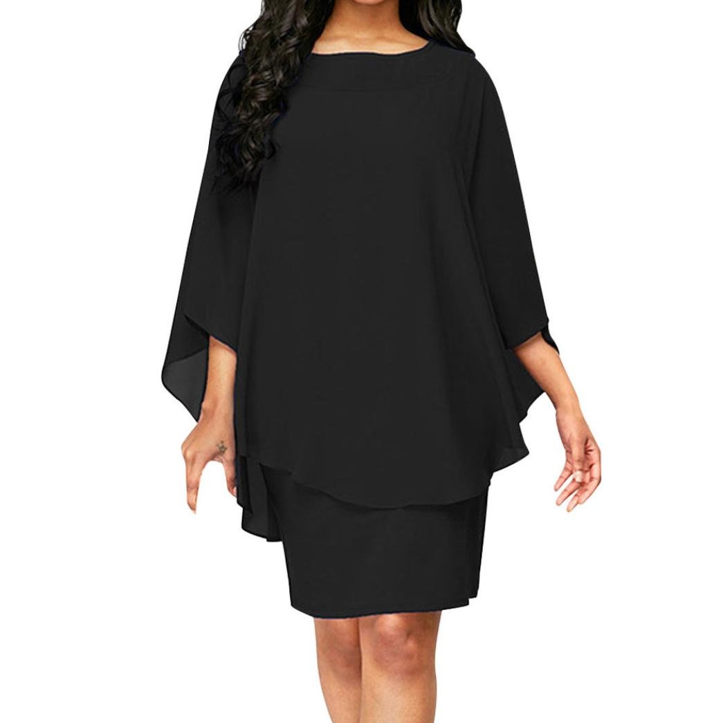 Plus Size Dress For Women,Kintaz Flare Sleeve Dress Evening Party Above Knee Summer Fashion Daily Dress (Size:L, Black)