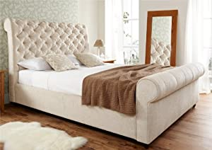 Elegance Upholstered Sleigh Bed Super King Size Bed Frame Only Cream Chenille Amazon Co Uk