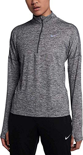 Nike Women's Dry Element Running Top-Carbon Heather-Medium