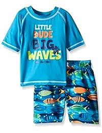 iXtreme Little Boys' Big Waves Dude 2-Piece Rashguard Swim Trunk Set, Blue, 5