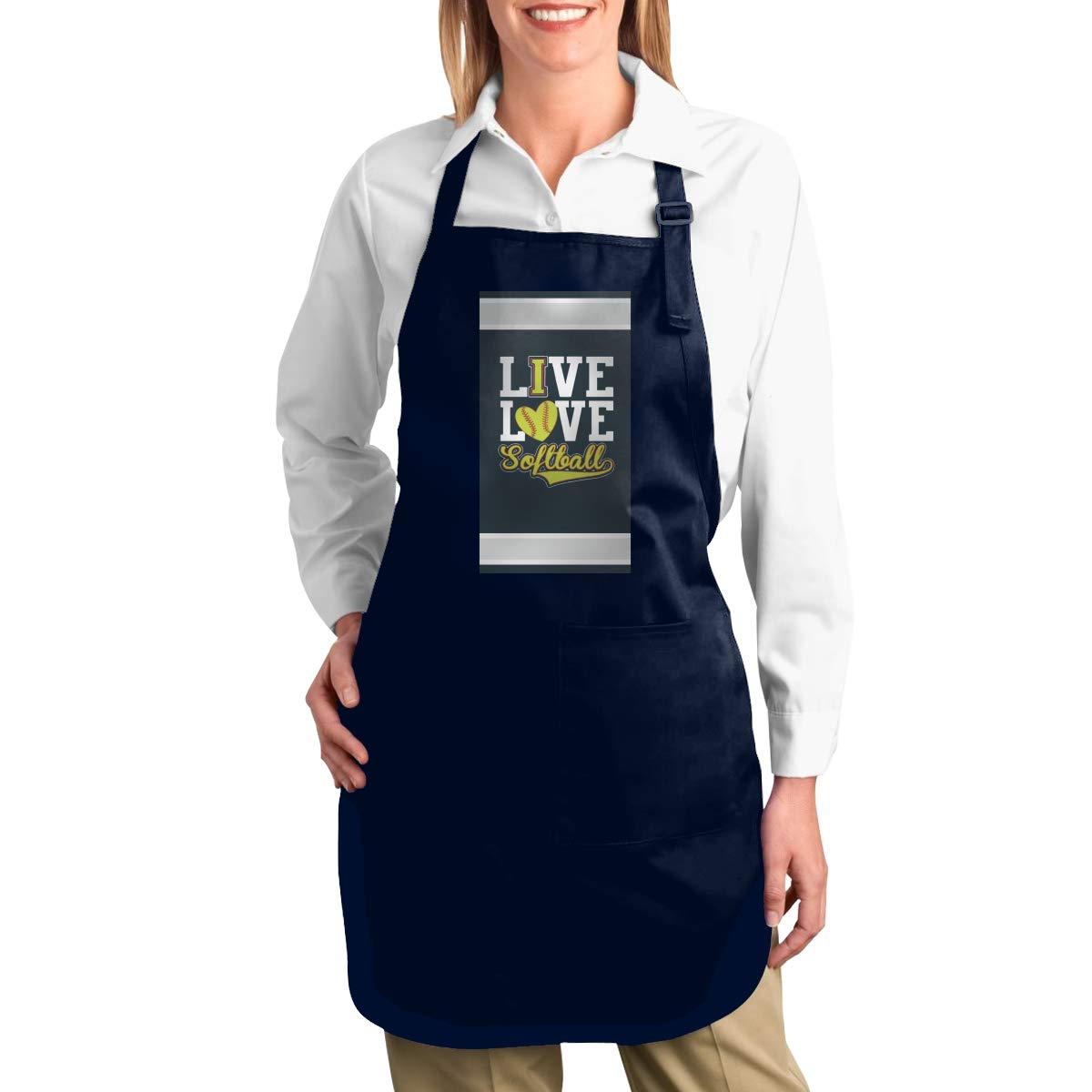 ZANGLUOJI Live Love - Softball Heavy Duty Canvas Work Apron,Tool Pockets, Back Straps Adjustable