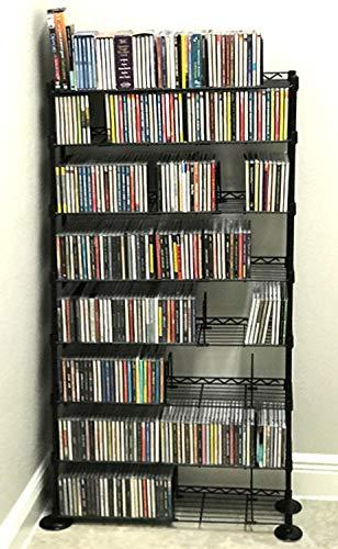 DVD Storage Rack with 8 Tier, Adjustable Shelves CD Holder, Contemporary Design Free standing Shelving Unit, Multipurpose Shelf Organizer Book Blu-Ray Media Game, Metal Holder, Steel Storage Stand