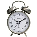Elgin QA Twin Bell Alarm Clock, Silver