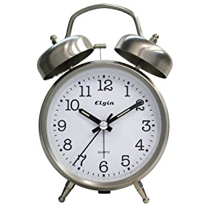amazon com elgin qa twin bell alarm clock silver home kitchen