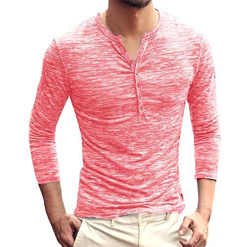 Cotone shirt Maglia T Manica Maglietta Landfox Morbido Uomo Slim Tops Rosa Lunghe Unita Lunga Maniche Casual collo V Retro Da 4 Tinta Fit Con Estate rr6q7Px4w