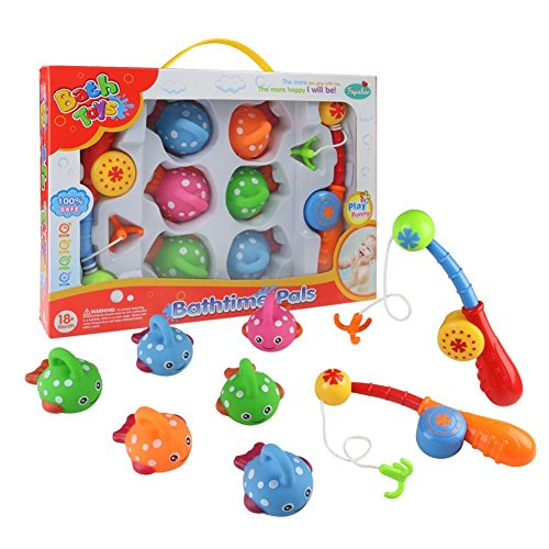 Bath Toys Fishing Game Bathtub Toy, Fajiabao Toy with Cute Spotted Fish Bath Tub Time for Toddlers Kids Boys Girls Set of 2 Gift Pack