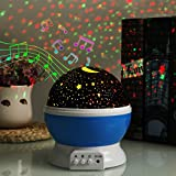 Projection LED Night Light Lamp with Speaker 4 Modes Multicolored Star Moon Sky Ceiling Projector Lamp, Musica Lamp for baby with USB Rechargeable Rotating Kids Light Bedroom Sleepy Light(Blue)
