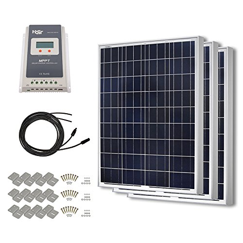 HQST 300 Watt 12 Volt Polycrystalline Solar Panel Kit wit...