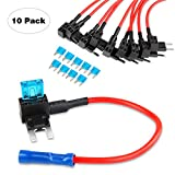 Nilight Fuse Holder Add-a-circuit Fuse TAP Adapter Mini ATM APM Blade Fuse Holder - 10 Pack, 2 years Warranty