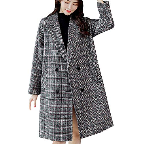 - Women Plaid Vintage Jacket Button Coat Trench Coats Long Sleeve Cardigan