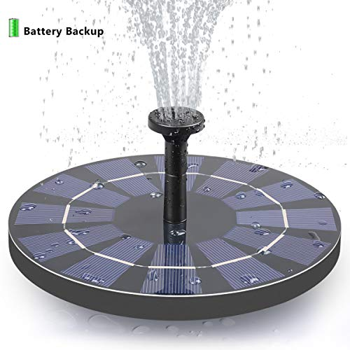 FEELLE Solar Fountain with Battery Backup, 2.5W Free Standing Solar Bird Bath Fountain Water Pump for Birdbath, Pond, Pool, Garden