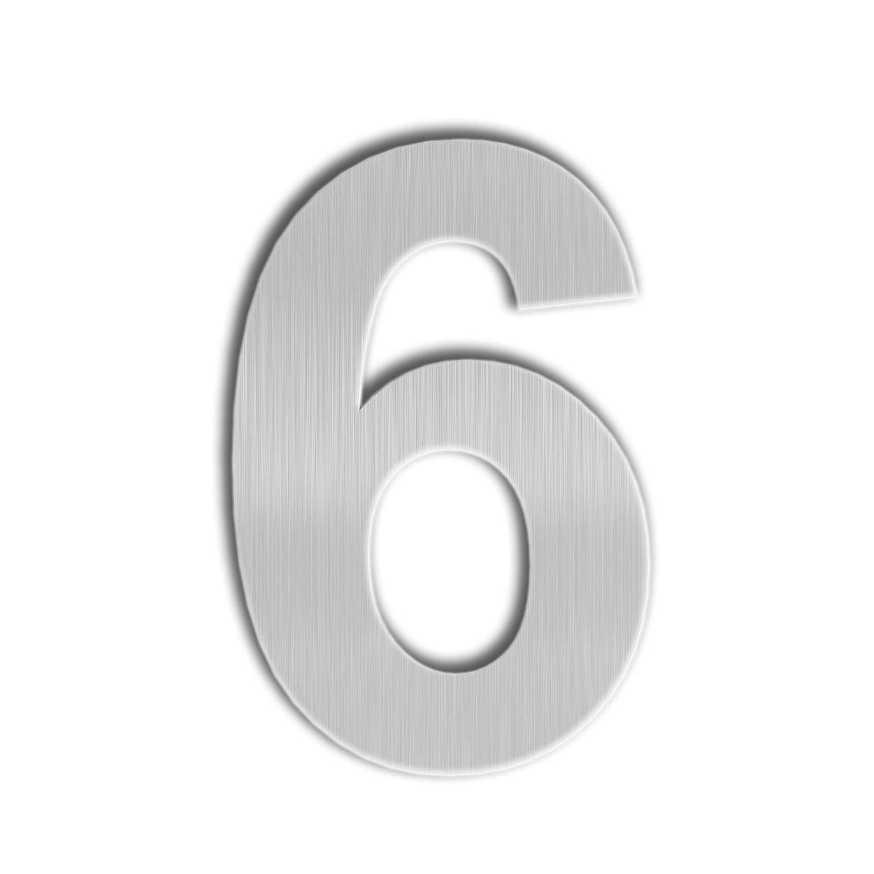 Qt modern house number 6 inch brushed stainless steel number 6 9 six nine floating appearance easy to install and made of solid 304 stainless steel