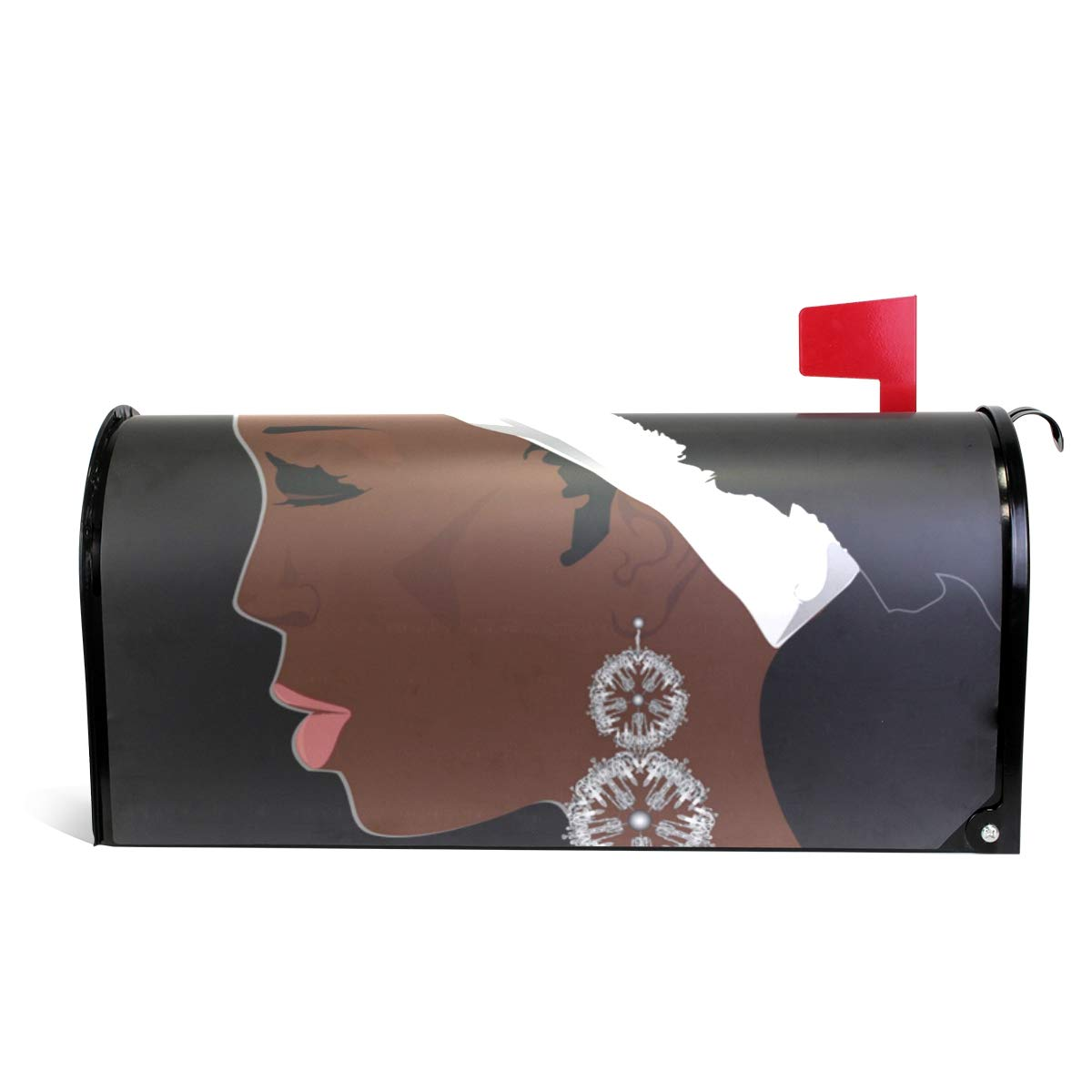 ALAZA Glamour African Woman Magnetic Mailbox Cover Standard Size-18''x 20.8''