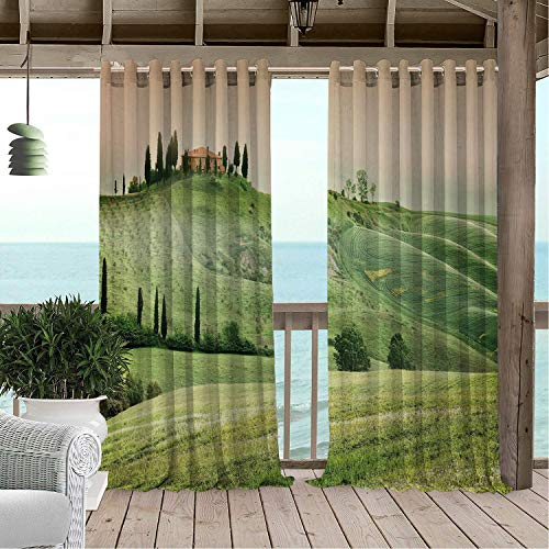 (Linhomedecor Patio Waterproof Curtain Farmhouse Scenic View of Typical Tuscany Misty Hills Landscape Photo Pistachio Green and Multicolor Porch Grommet Privacy Curtains 96 by 72 inch)