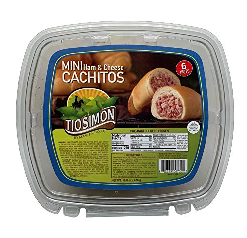 Tio Simon Ham and Cheese Filled Pre-Cooked Mini Cachitos - Latin-American Food for Breakfast and Snacks; 6 Units per Pack (16.8 Ounces or 476 Grams) (Best Cheese For Ham And Cheese Croissant)