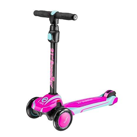 Scooter Deportivo para Niños, Rosa, 3 Ruedas Scooter con Ruedas Intermitentes De PU,