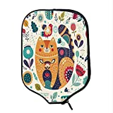 YOLIYANA Paisley Decor Durable Racket Cover,Little Smiling Chubby Cheek Cat with Various Oriental Leaf Flower Decor Art for Sandbeach,One Size