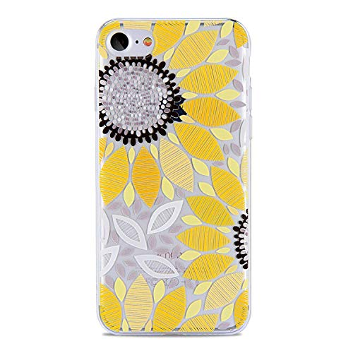 PHEZEN iPhone 4S Case,iPhone 4 Clear Case, Beautiful Flower Pattern Clear Bumper Case Soft TPU Rubber Silicone Skin Transparent Case Cover for iPhone 4/4S (Yellow Sunflower)