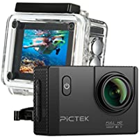 Pictek Action Camera, Waterproof WIFI Sports Video Camera 12MP 2.0-Inch 1080P FHD Action Video Camera with 2 Batteries and Accessories, Black